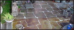 Flagstone engraved patio